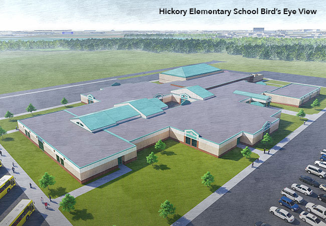 Hickory Elementary School aerial exterior rendering