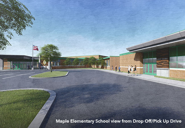 Maple Elementary School view from Drop Off/Pick Up Drive rendering