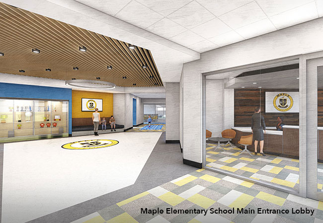 Maple Elementary School secure entryway and lobby rendering
