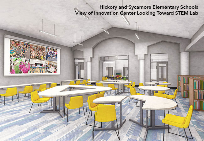 Hickory and Sycamore Elementary Schools Innovation Center rendering