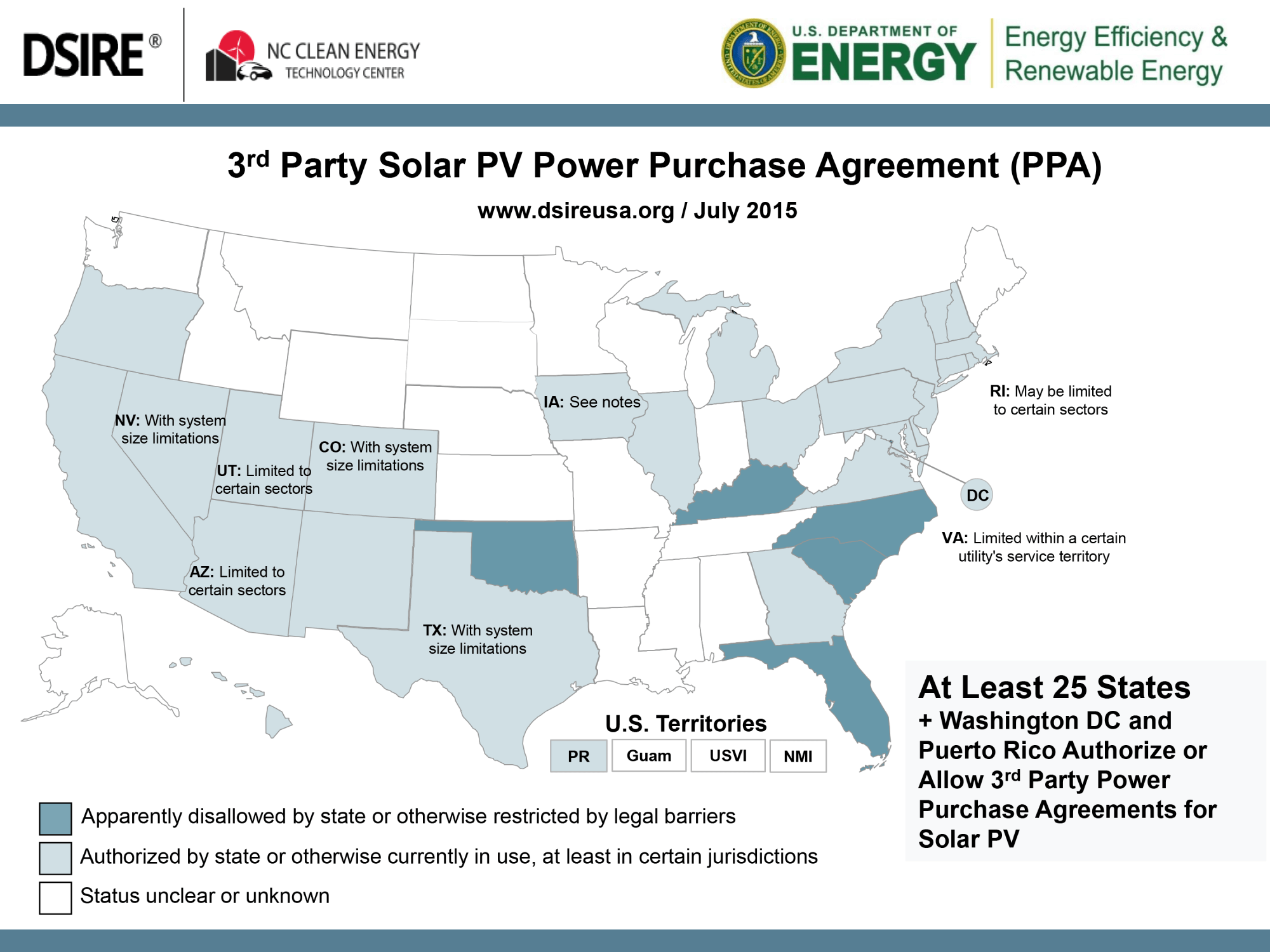U.S. map detailing states with third party solar pv power purchase agreements