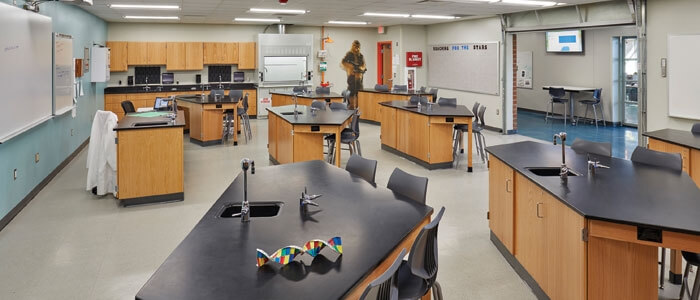 Empty STEM laboratory in a K-12 school